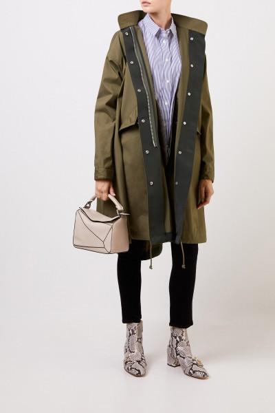Langer Mantel mit Bindedetail Khaki
