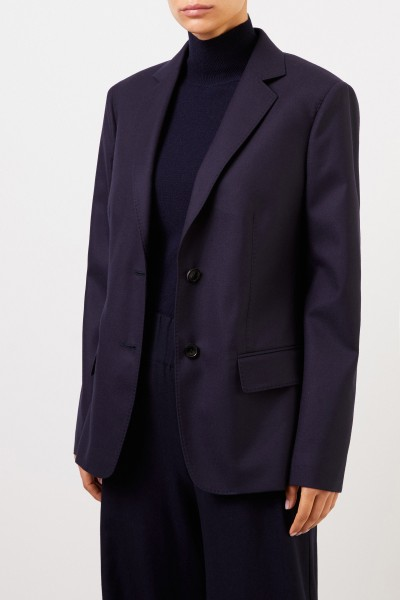 Agnona Classic Wool Blazer Navy Blue