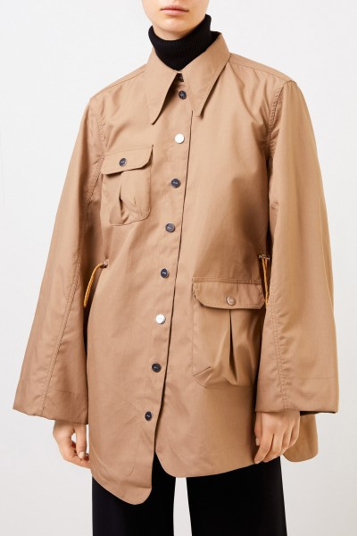 Ganni Double Cotton Trenchcoat Beige/Khaki