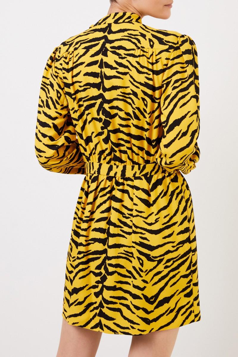 Saint Laurent Kurzes Kleid mit Print Schwarz/Gelb