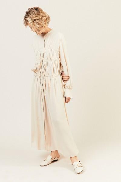 Maxi-Seidenkleid mit Raffung-Details Beige