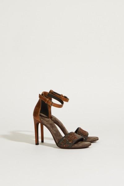 Sandalette mit Perlenverzierung Grau/Braun