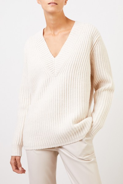 Acne Studios Wool pullover with v-neck Cream