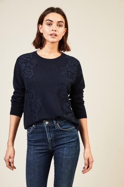 Cashmere-Pullover mit Spitzenbesatz Marineblau