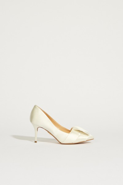 Satin Bridal Pump with bow detail White