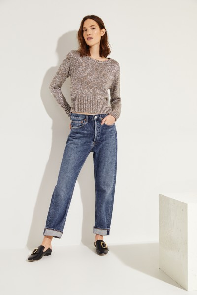 Kurzer Pullover Silber/Beige