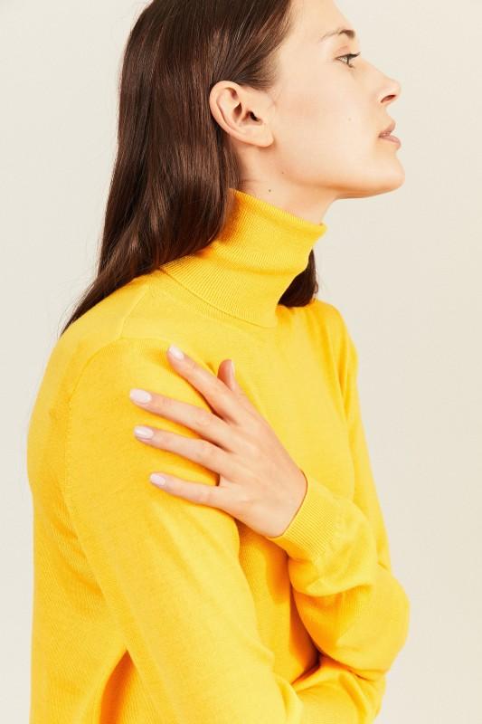 Woll-Rollkragenpullover Gelb