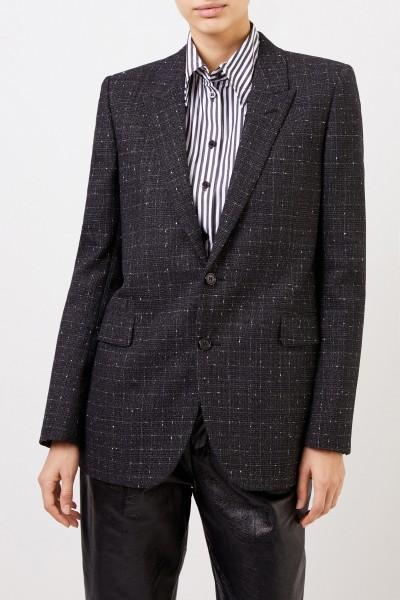 Saint Laurent Checked Wool Shell Blazer Black/Multi