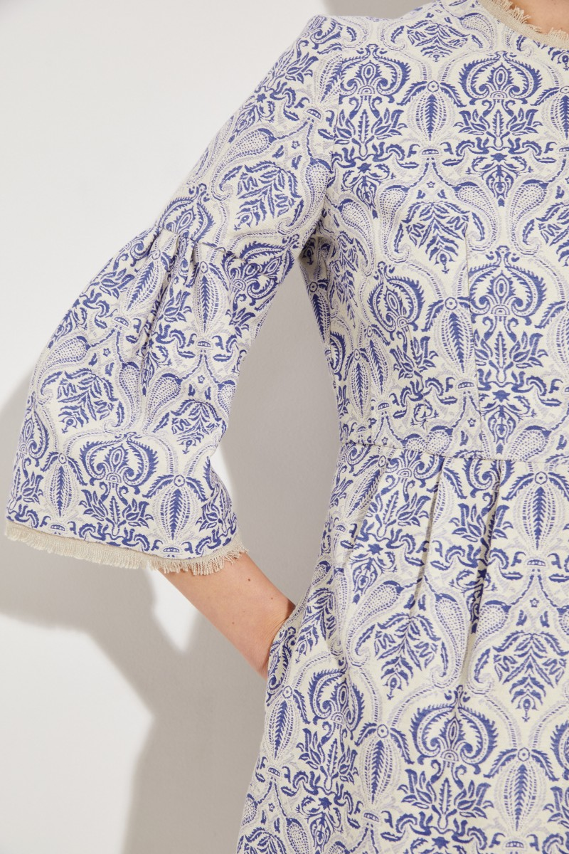 Jacquard Mantel Blau/Weiß