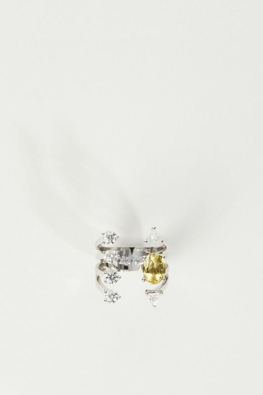 Delfina Delettrez Ring 'Today Tomorrow Dots' Weißgold/Aquamarin