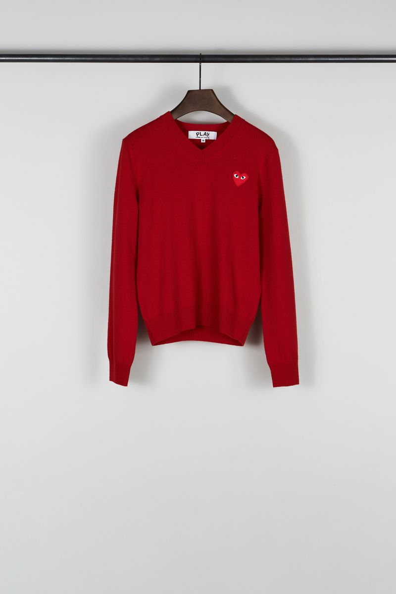 Wollpullover mit Patch-Detail Rot