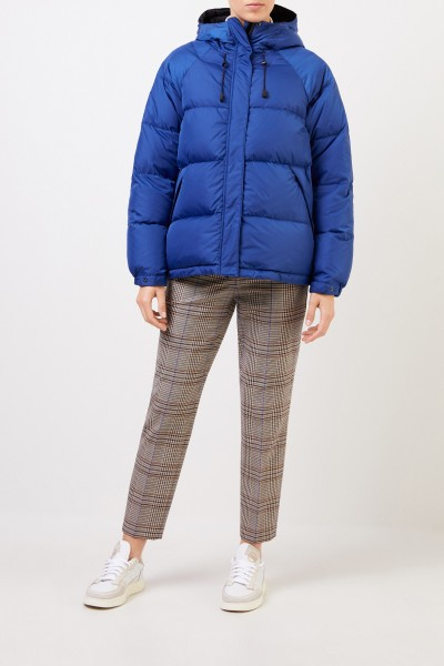 Down jacket with hood Blue