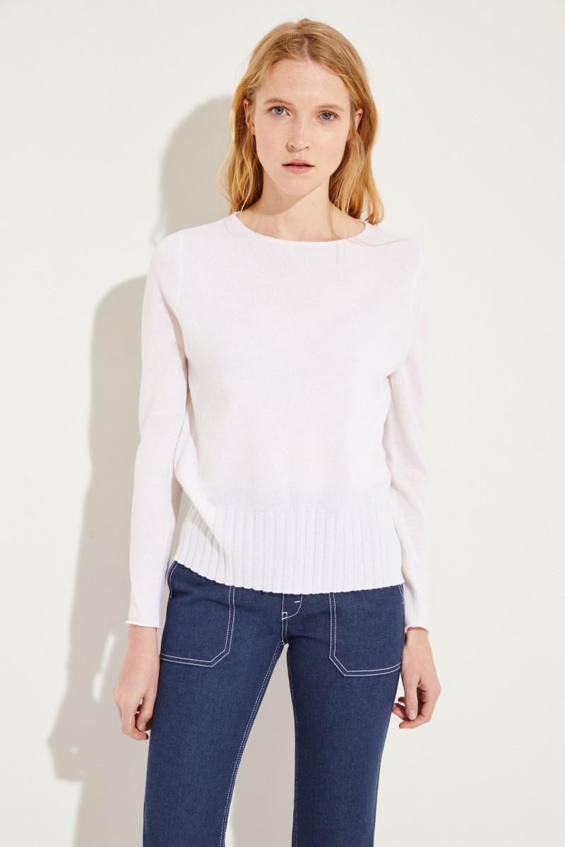 Woll-Cashmere-Pullover Weiß