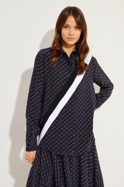 Seiden-Bluse mit Logo-Druck Blau