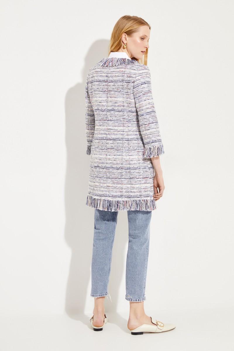 Tweed-Mantel 'Nikki' mit Fransen Blau/Multi