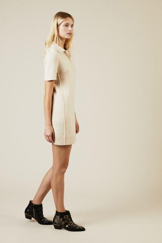 Cashmere-Woll-Kleid Créme