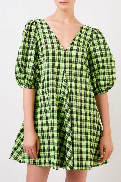 Ganni Checked dress with v-neck Green/Black