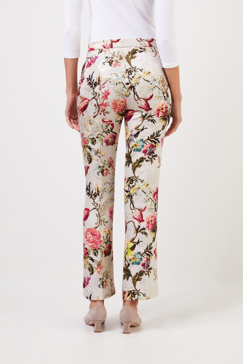 Etro Hose mit floralem Print Beige/Multi
