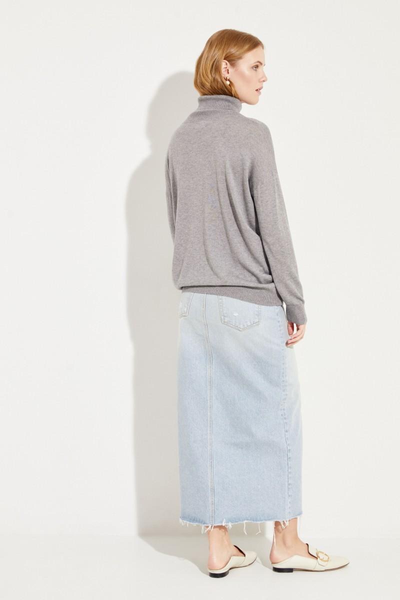 Seiden-Cashmere-Rollkragenpullover Grau