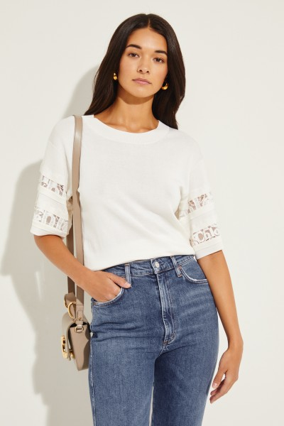Jumper with Lace Details Cream
