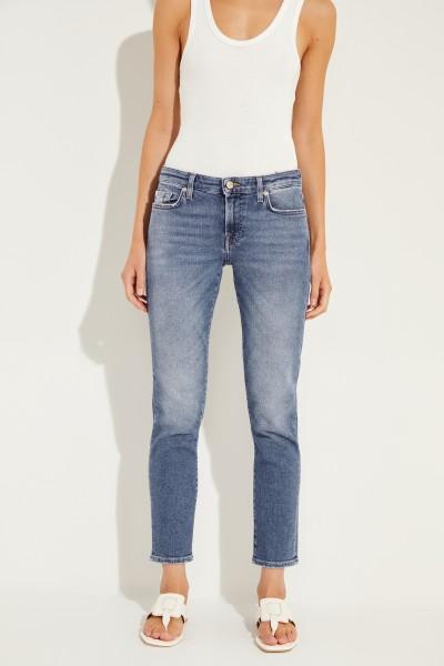 Jeans 'Pyper Cropped' mit Used-Look Blau