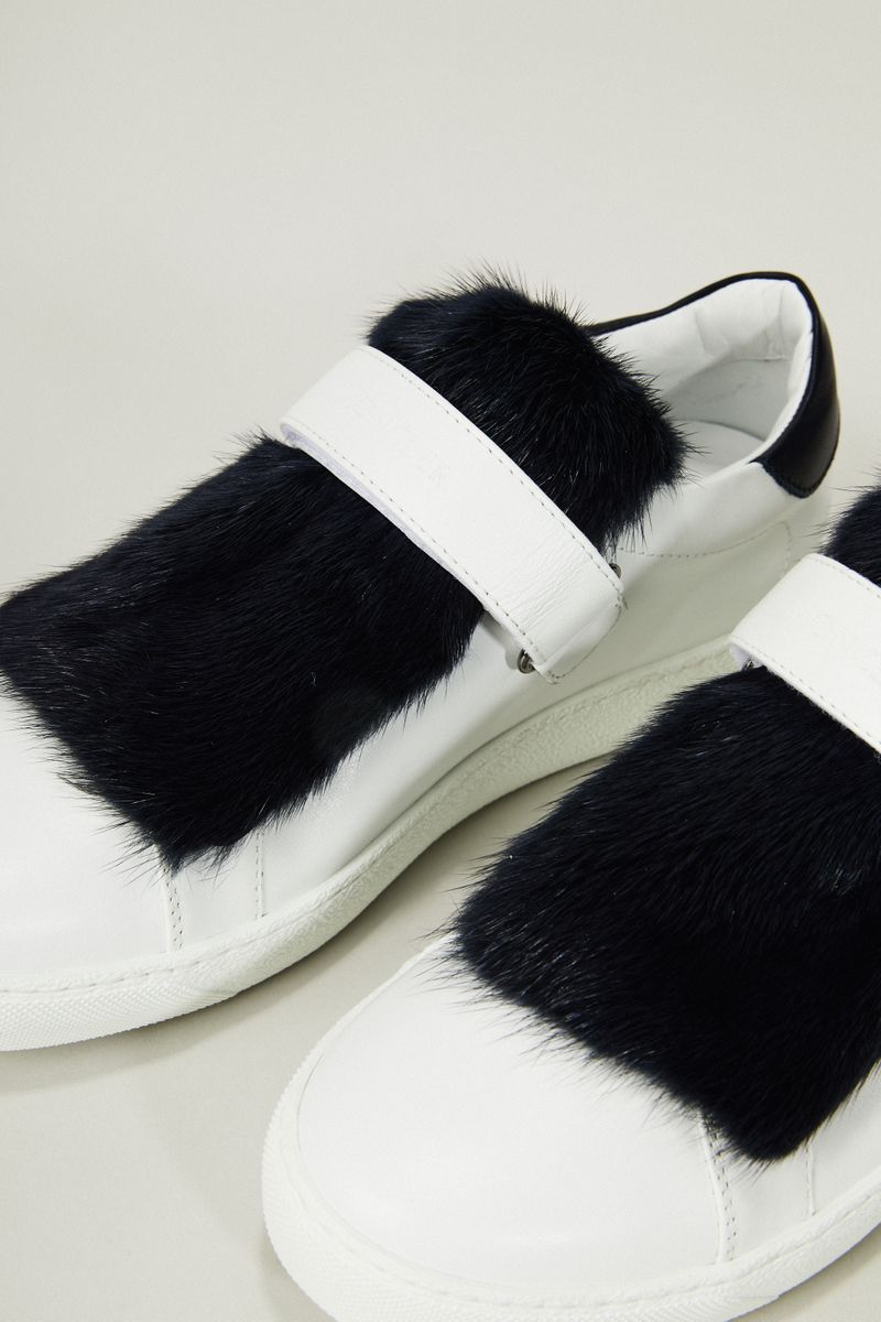 Leder-Sneaker 'Lucie' mit Felldetail Weiß/Blau
