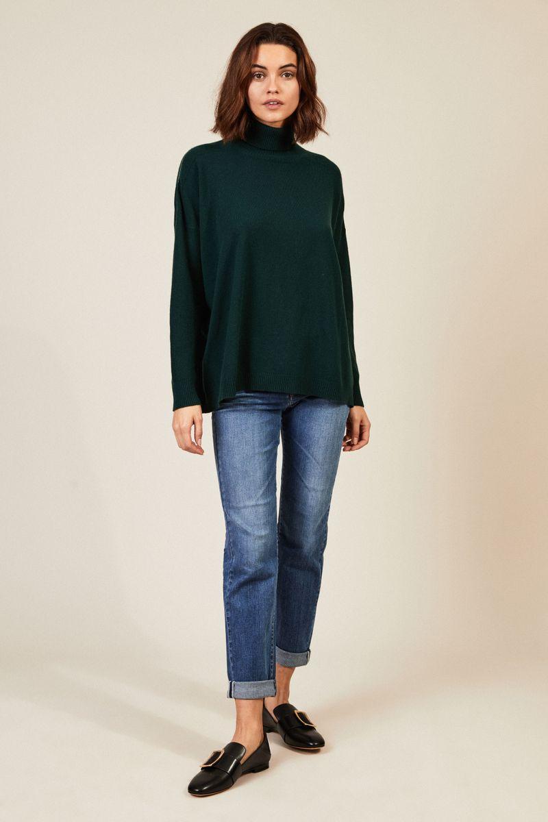 Oversize Woll-Seiden-Pullover Grün