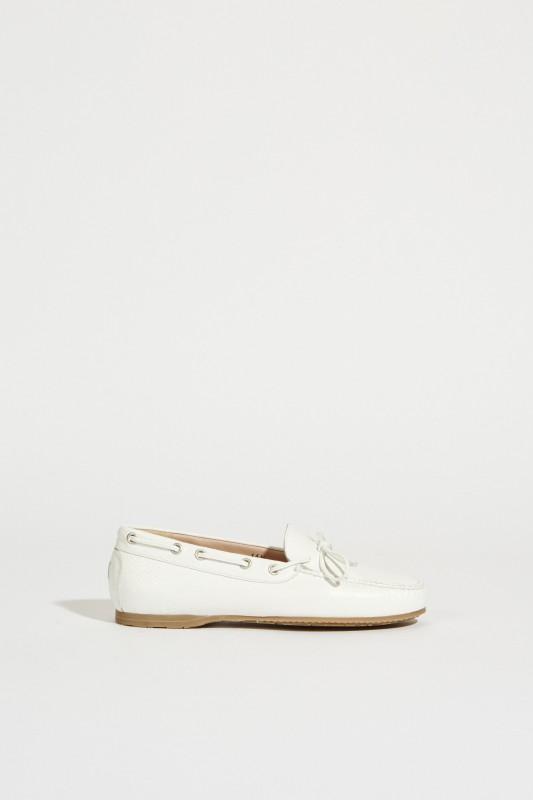 Leder-Schuh mit Schleife Weiß