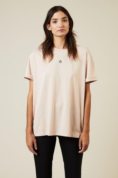 T-Shirt mit Stern-Stickerei Rosé