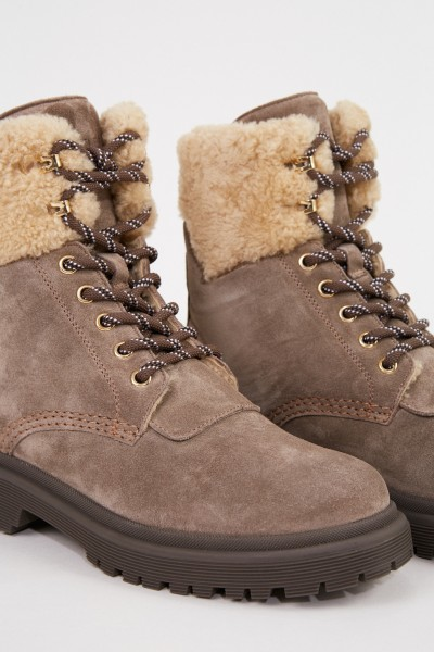 Moncler Padded suede leather boots 'Patty' Taupe