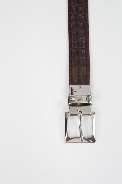Gräfin v. Lehndorff Crocodile embossed leather belt Black/Dark Brown