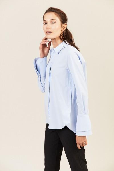 Bluse mit breiten Manschetten Blau
