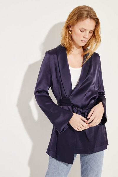 Satin-Wickelblazer Marineblau