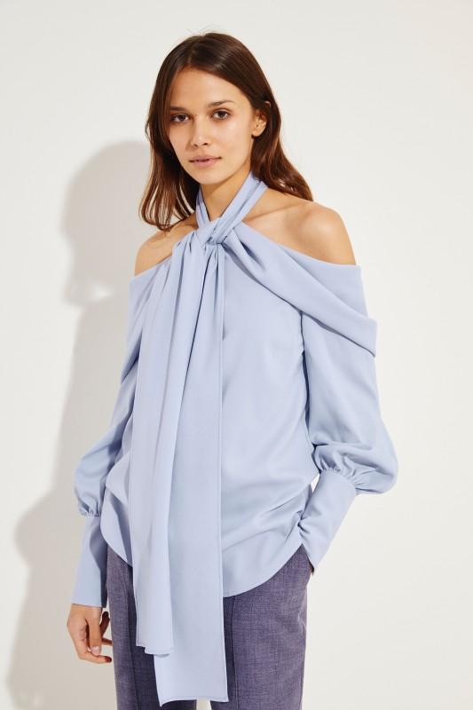 Seiden-Bluse mit Bindeelement Blau