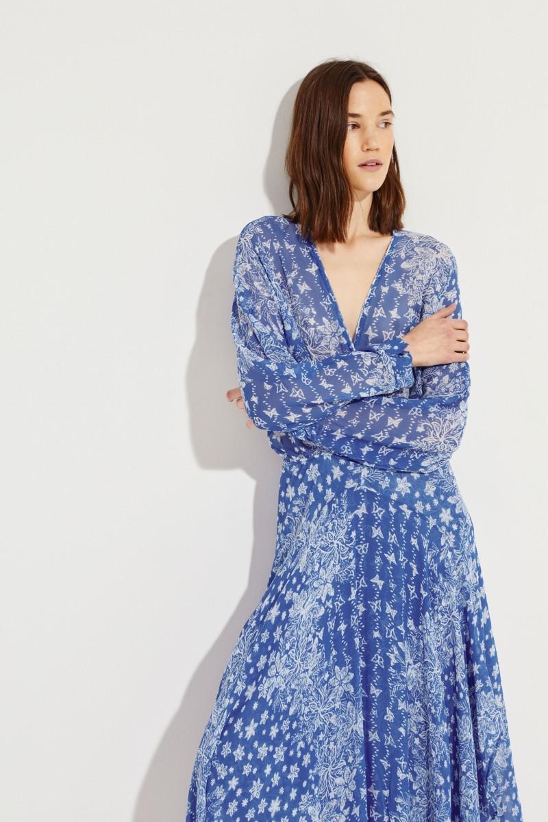 Gemustertes Seiden-Kleid 'Ilona' Blau