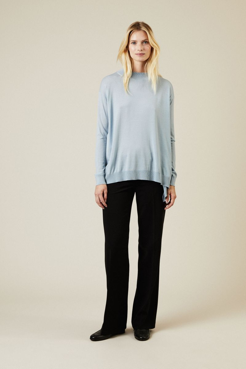 Oversize Woll-Pullover Blau