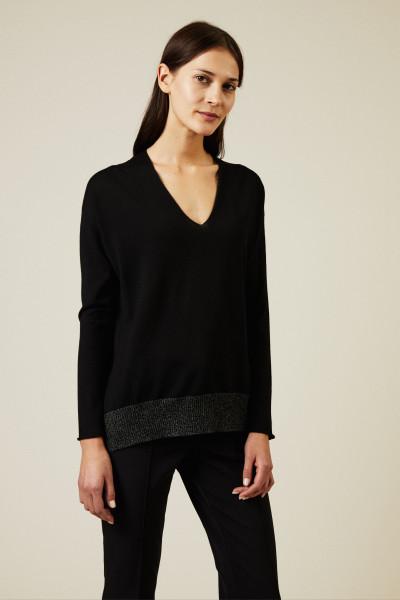 Oversize Woll-Pullover Schwarz