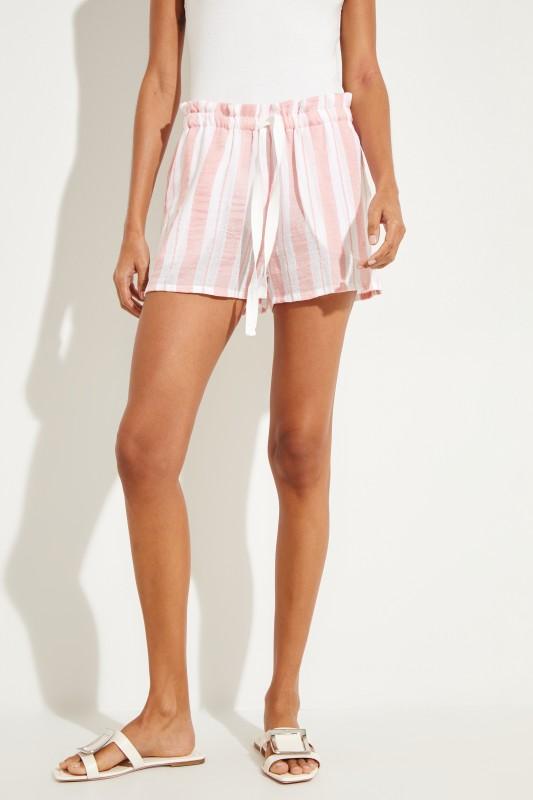 Gestreifte Shorts 'Doro' Rosé/Weiß