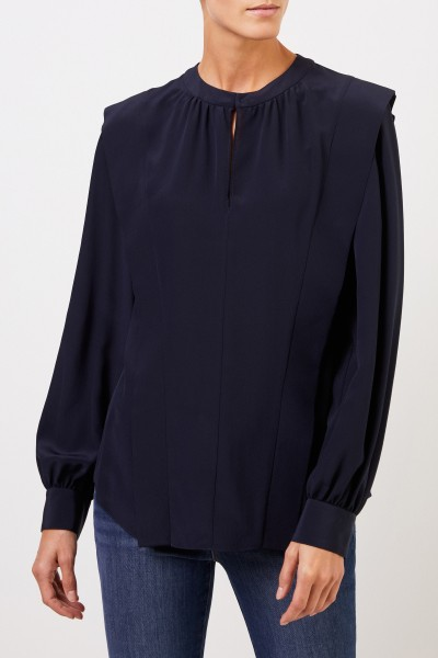Stella McCartney Seidenbluse mit Schlitz Marineblau