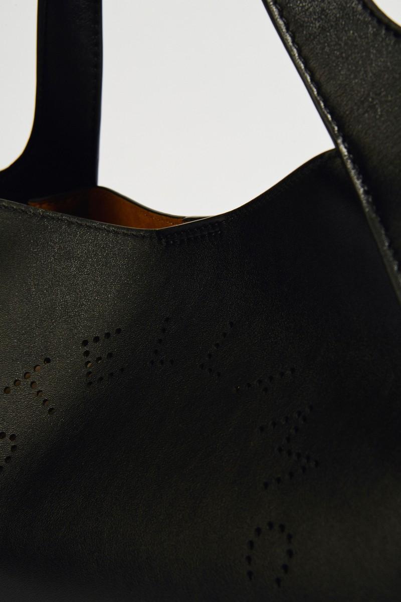 Schultertasche mit Logo Schwarz/Senf