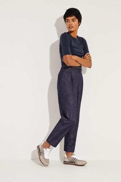 Brunello Cucinelli Bundfalten-Jeans mit Perlenverzierung Blau