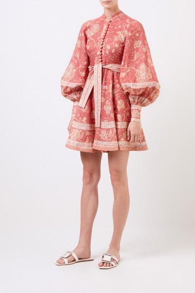Kurzes Leinen-Kleid 'Veneto' mit Print Koralle