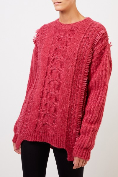 Stella McCartney Alpaca pullover with cable pattern Fuchsia