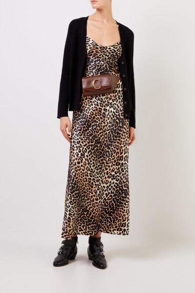 Ganni Silk Dress with Leoprint Multi