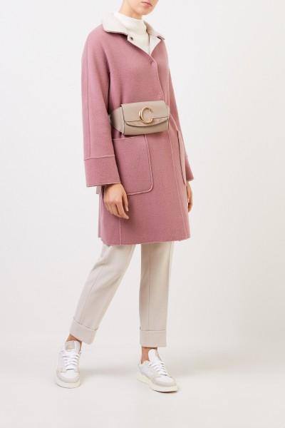 Bruno Manetti Reversible wool coat Rosewood/Beige