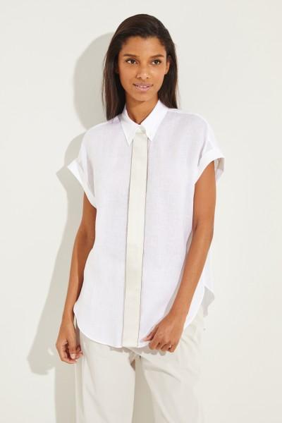 Leinen-Bluse mit Seidendetail Weiß