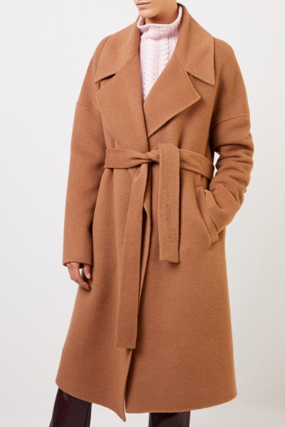 Iris von Arnim Wool alpaca coat 'Benita' with belt Camel