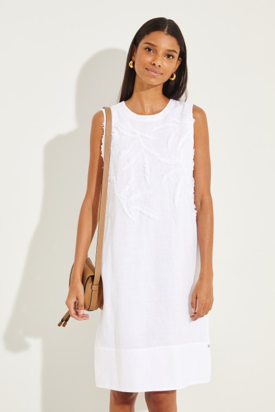 Leinen-Kleid mit Applikationen Weiß