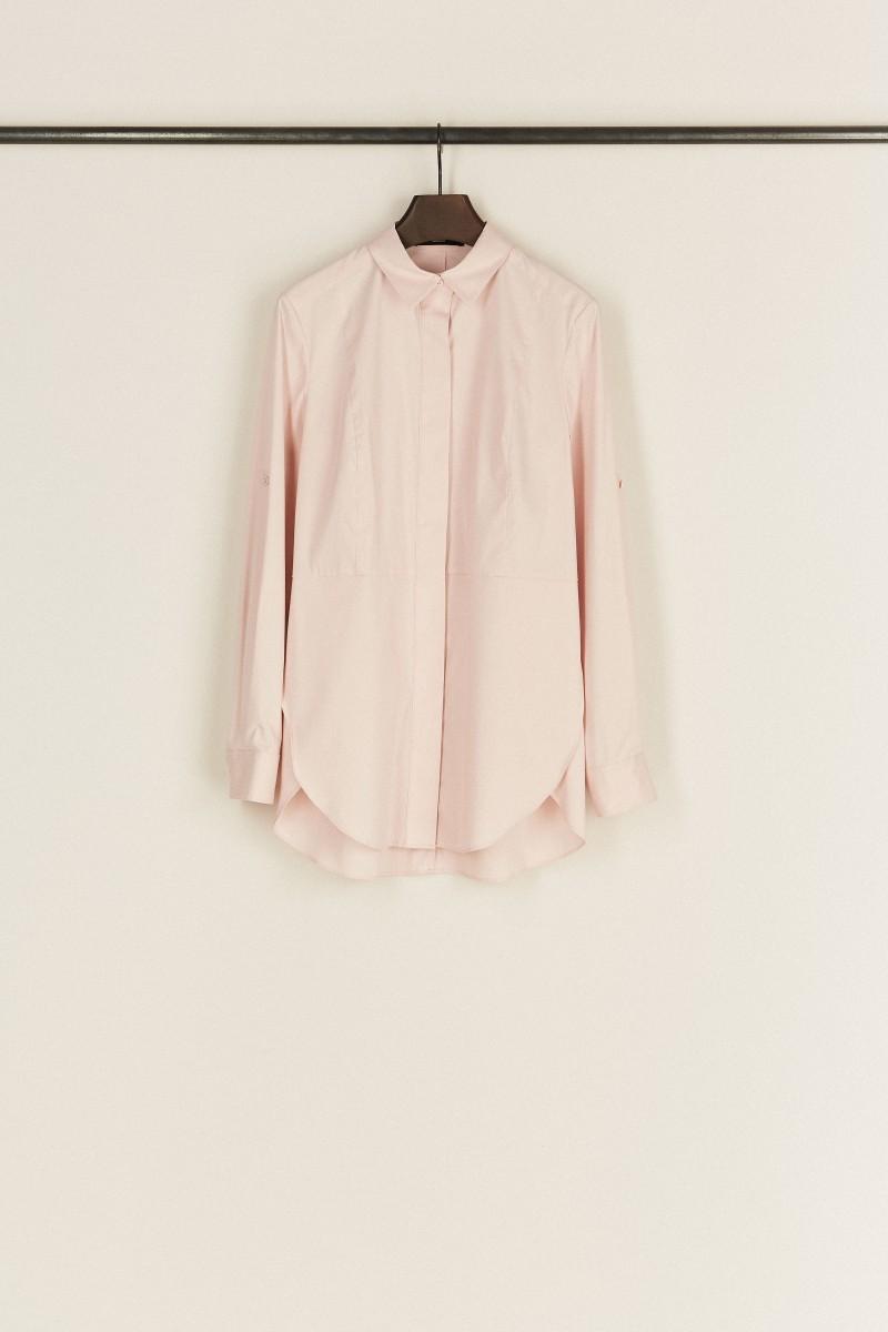 Bluse mit Ziernähten Rosé