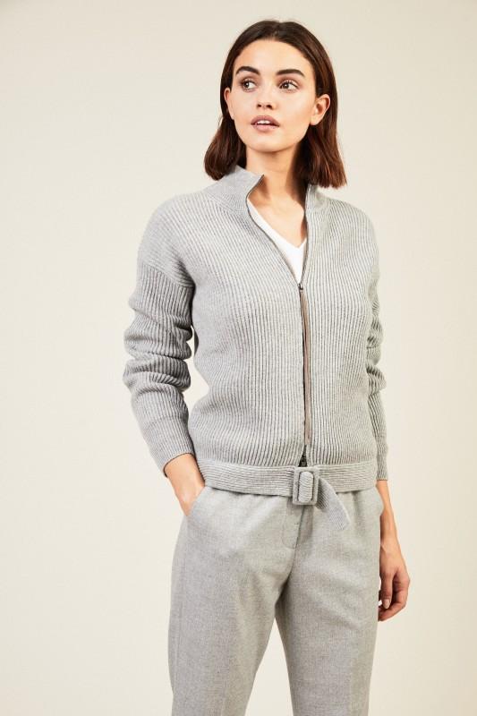 Woll-Seiden-Cardigan mit Gürteldetail Grau